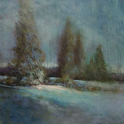 Painting called 'Silent Night' - winter evening landscape